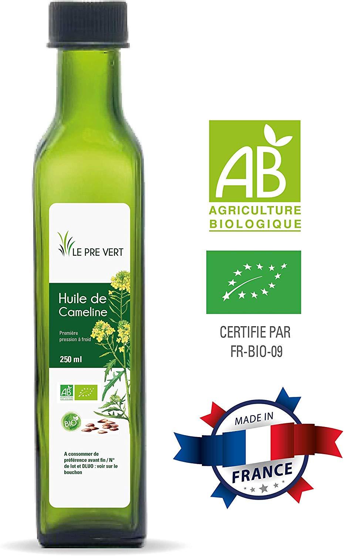 bienfaits de l'huile de cameline BIO - Alimentaire - Vierge Extraite à froid - 250 ml - Fabriquée en France - Le Pré Vert de Le Pré Vert